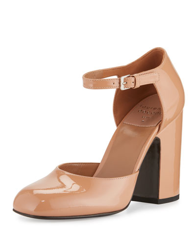 Mindy Patent d'Orsay Ankle-Wrap Pump, Nude