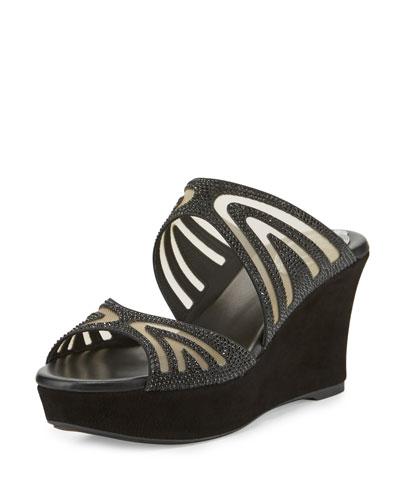 Crystal Two-Band Wedge Slide Sandal, Black