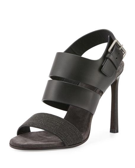 Brunello Cucinelli Monili Leather 105mm Sandal, Black