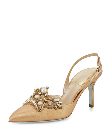Rene Caovilla Pearly 75mm Slingback Pump, Gold