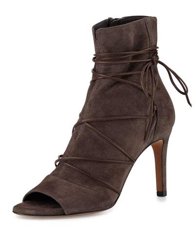 Adisa Lace-Up Open-Toe Ankle Boot, Dark Smoke