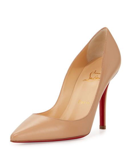 Christian Louboutin Apostrophy Pointed Red Sole Pump, Nude
