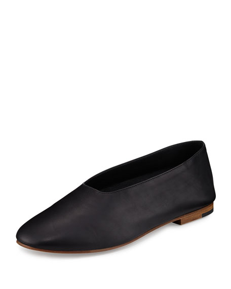 Maxwell Leather Flat, Black