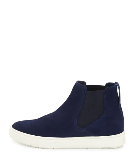 Newlyn Hidden-Wedge High-Top Sneaker, Heather Indigo