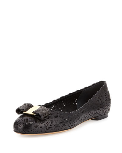 Varina Laser-Cut Leather Flat, Nero