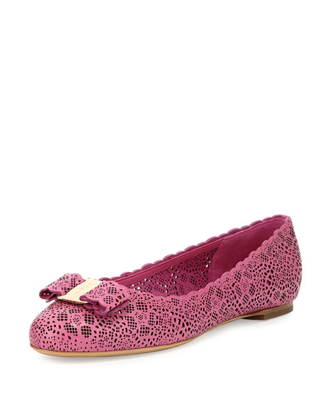 Salvatore Ferragamo Varina Laser-Cut Leather Flat, Anemone