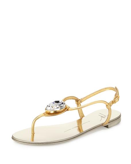 Giuseppe Zanotti Nuvorock Jeweled T-Strap Sandal, Gold