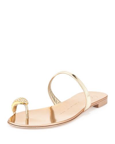Metallic Toe-Ring Flat Sandal, Gold