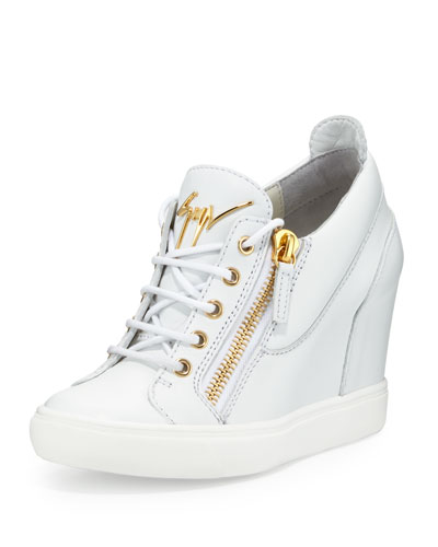 Lorenz Zip-Front Wedge Sneaker, White