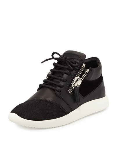 Side-Zip Lace-Up Mid-Top Sneaker, Black