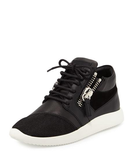 Giuseppe Zanotti Side-Zip Lace-Up Mid-Top Sneaker, Black