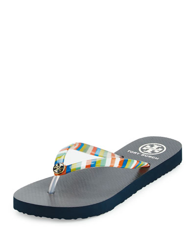 Striped Thin Thong Sandal, Multicolor