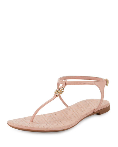 Marion Quilted T-Strap Sandal, Clay Pink