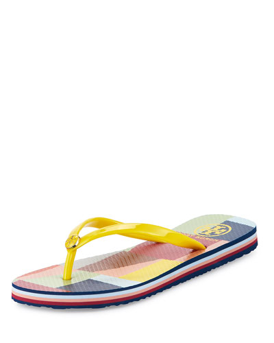 Colorblock Rubber Thong Sandal, Yellow/Colorscape