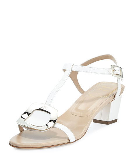 Roger Vivier Chips Leather T-Strap Sandal, Off White