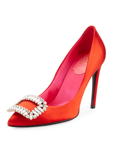 Roger Vivier Sexy Choc Crystal-Buckle Pump, Red