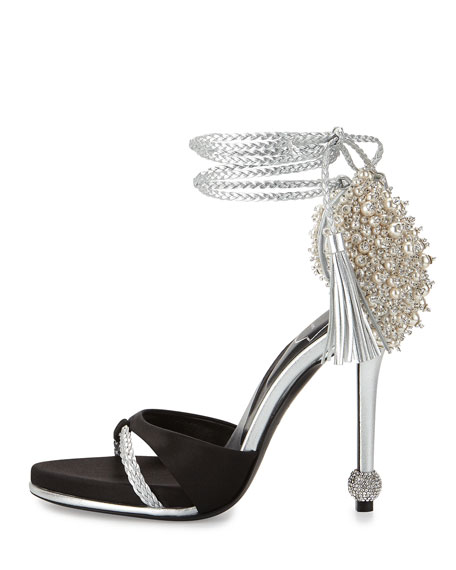 Lasso Pearly Ankle-Wrap Sandal, Black/Silver
