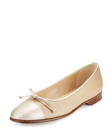 Gravati Cap-Toe Ballerina Flat, Ivory/Gold