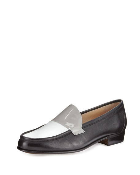 Gravati Flat Tricolor Leather Loafer, Black/White/Gray
