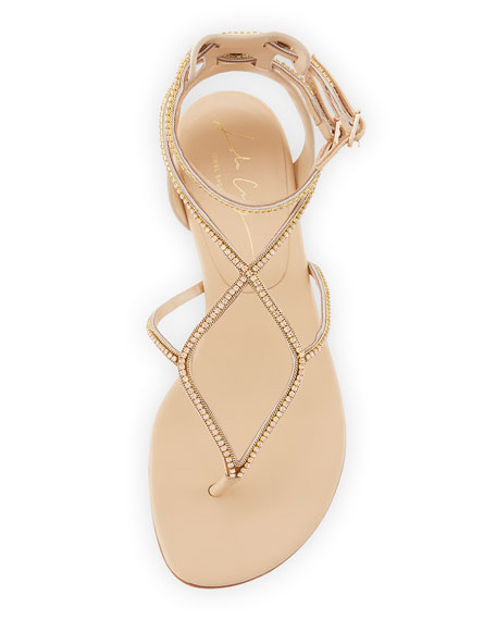 Crystal T-Strap Flat Sandal, Nude