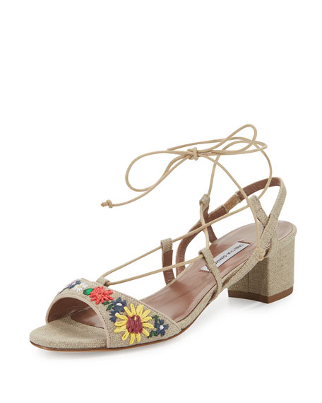 Tabitha Simmons Lori Meadow Embroidered Lace-Up Sandal,