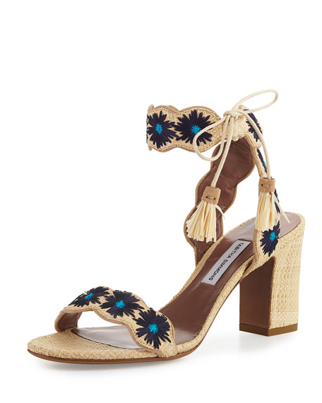 Tabitha Simmons Ollie Embroidered 75mm Sandal, Raffia/Blue