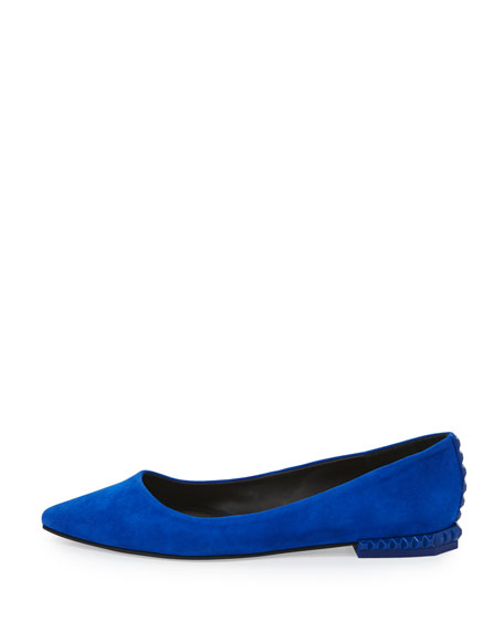 Fallon Leather Studded-Heel Flat, Deep Sapphire
