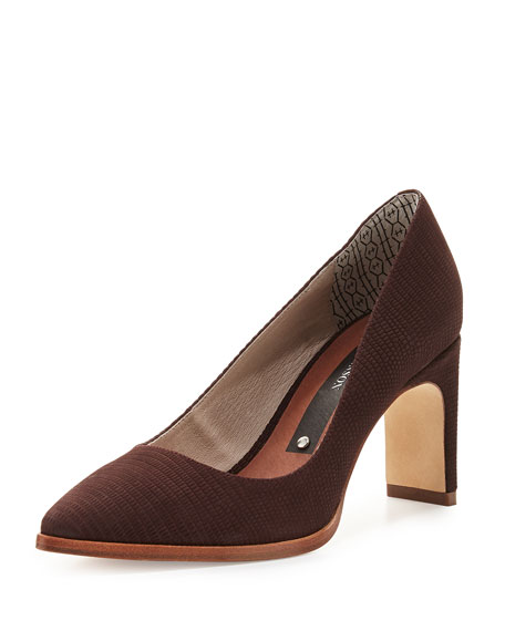Matt Bernson Royale Lizard-Embossed Pointed-Toe Pump, Syrah