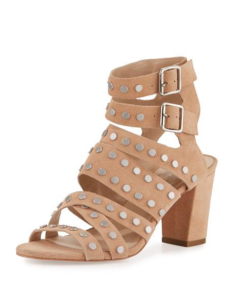 Loeffler Randall Galia Studded Strappy Sandal, Nude/Silver
