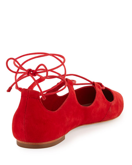 Ambra Suede Lace-Up Ballerina Flat, Poppy