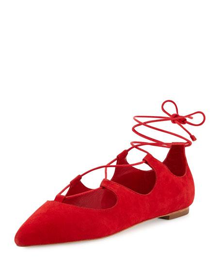 Loeffler Randall Ambra Suede Lace-Up Ballet Flat, Poppy