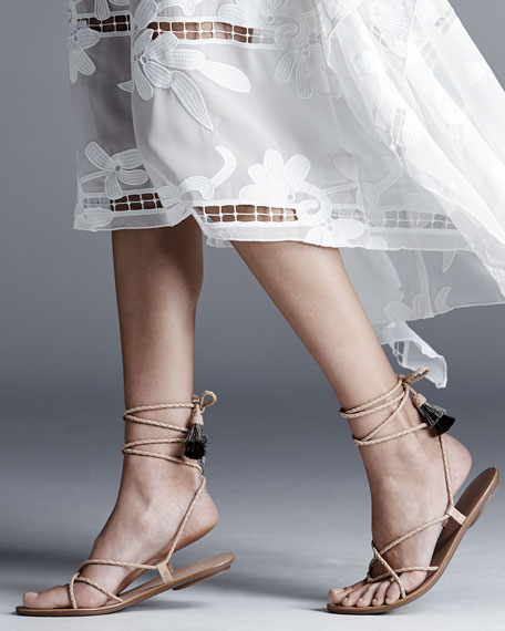 Braided Lace-Up Tassel Flat Sandal, Nude/Natural/Black
