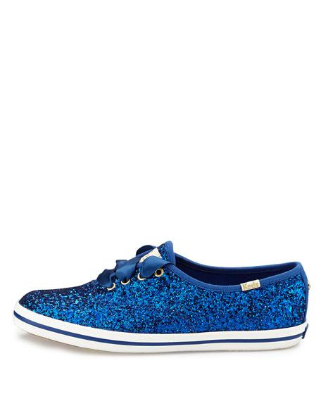 glitter lace-up sneaker, blue