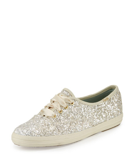 glitter lace-up sneaker, white