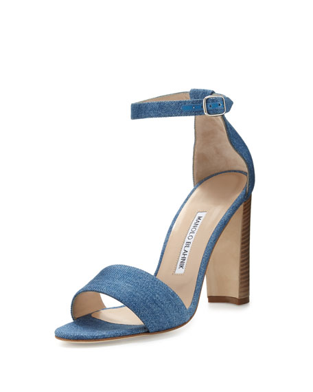 Lauratopri Ankle-Wrap 105mm Sandal, Light Blue Jeans