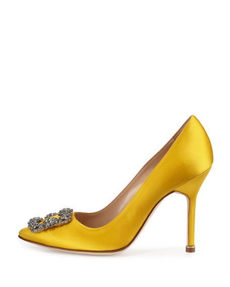 Hangisi Crystal-Buckle Satin 105mm Pump, Yellow