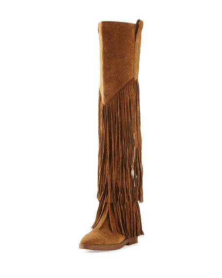 Ash Gipsy Fringe Suede Over-The-Knee Boot, Russet