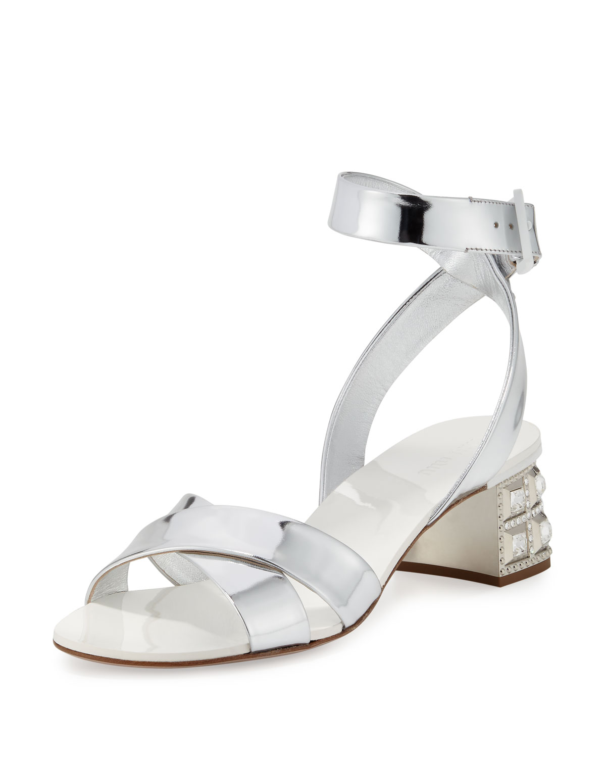 91bcb13a605 Miu Miu Metallic Leather Jewel-Heel Sandal
