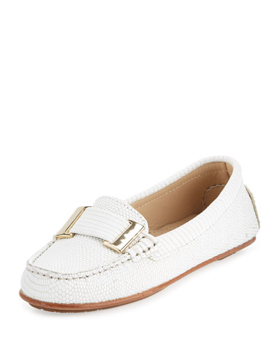 Renna Lizard-Embossed Ornament Loafer, Chalk