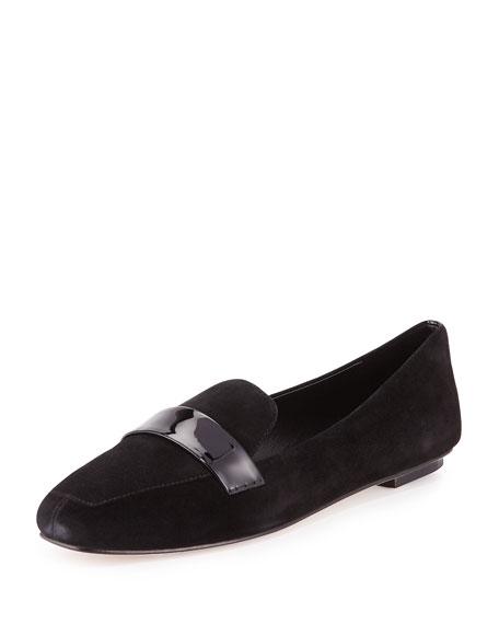 Delman Fab Patent-Strap Suede Loafer, Black