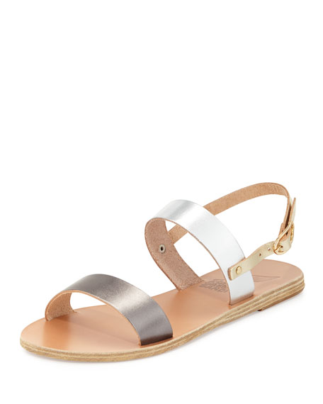 Ancient Greek Sandals Clio Double-Band Flat Slingback Sandal, Natural