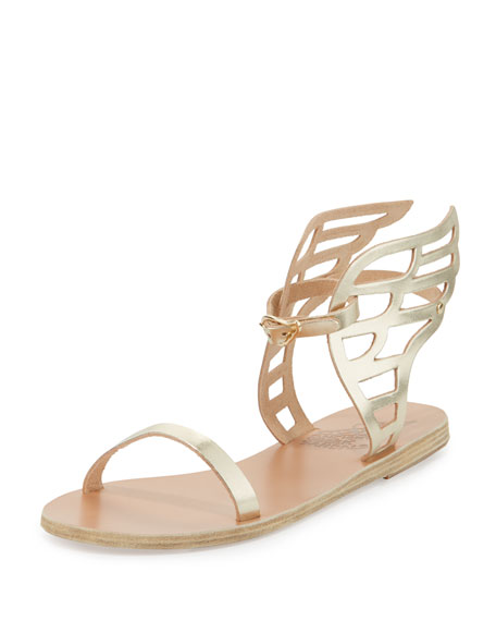 Ikaria Leather Wing Flat Sandal, Gold