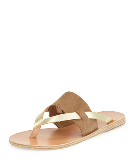 Ancient Greek Sandals Zenobia Flat Thong Sandal, Taupe