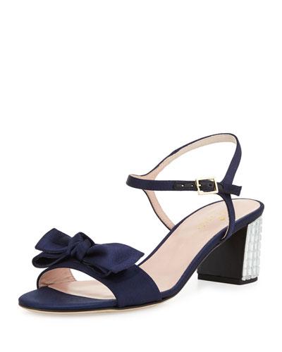 monne too satin bow sandal, navy