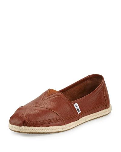 Alpargata Leather Slip-On Flat, Medium Brown