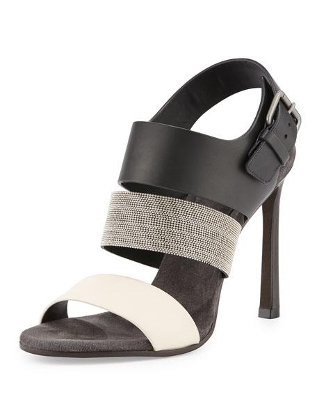Brunello Cucinelli Monili Colorblock 105mm Sandal, Vanilla/Black