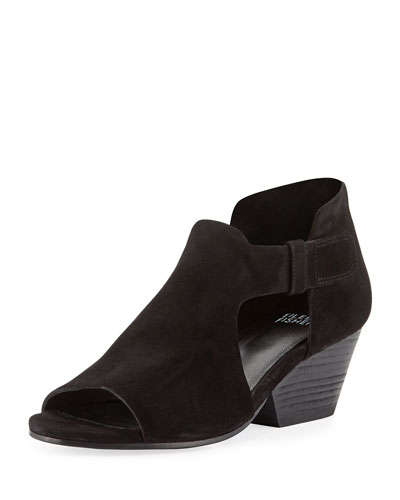 Iris Cutout Open-Toe Bootie, Black
