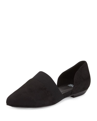 Flute Pointed-Toe d'Orsay Flat, Black