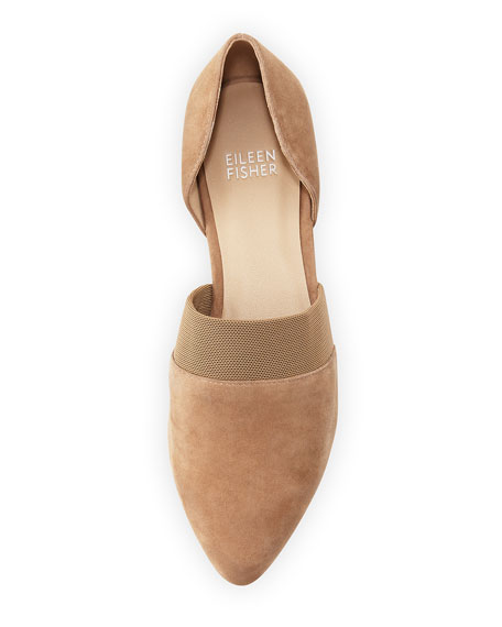 Flute Pointed-Toe d'Orsay Flat, Sienna