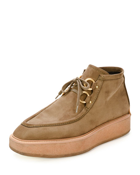 Faux-Suede Clipper Boot, Cigar